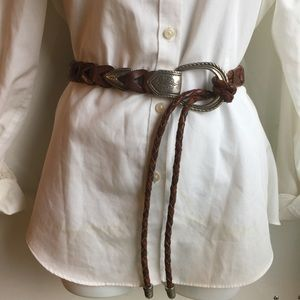 WESTERN STYLE BROWN LEATHER BELT